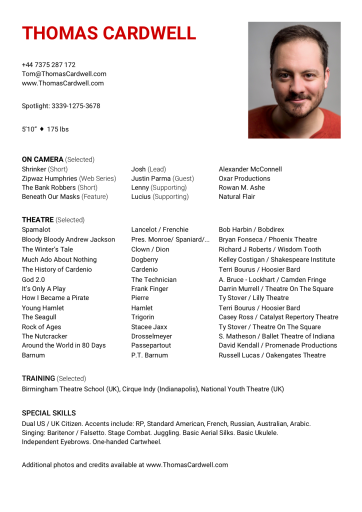 Thomas Cardwell 2019 CV Resume